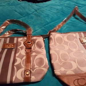 Coach purse and tote bag in white cover bag